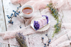 Dessert with berries and tea Stock Photos