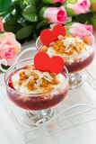 Dessert with berry jam and cream for Valentine's Day, top view Royalty Free Stock Photos