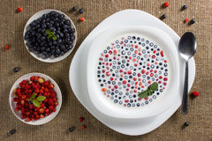 Dessert from a bilberry with a wild strawberry. сold soup a dessert from a bilberry with a wild strawberry in milk Royalty Free Stock Images