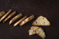 Dessert biscuits with almonds, cakes of Italian tradition. Called cantuccini Stock Photo