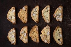 Dessert biscuits with almonds, cakes of Italian tradition. Called cantuccini Royalty Free Stock Photos