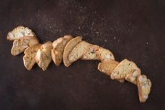 Dessert biscuits with almonds, cakes of Italian tradition. Called cantuccini Royalty Free Stock Photography