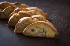 Dessert biscuits with almonds, cakes of Italian tradition. Called cantuccini n Royalty Free Stock Images