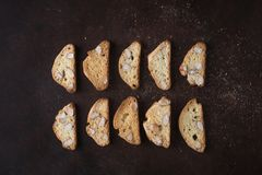 Dessert biscuits with almonds, cakes of Italian tradition. Called cantuccini Stock Images