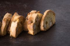 Dessert biscuits with almonds, cakes of Italian tradition. Called cantuccini n Stock Photo