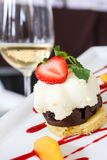 Dessert with biscuits, chocolate, strawberry Royalty Free Stock Photos