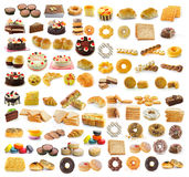 dessert, brood, cake, donuts, croissants Stock Afbeelding