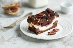 Dessert brownie-kaastaart met noten Stock Foto