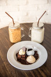 Dessert Brownie and whipcream Royalty Free Stock Images