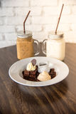 Dessert Brownie and whipcream Royalty Free Stock Photography