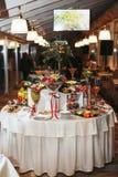 Dessert buffet arrangement for a dinner Royalty Free Stock Photography