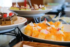 Dessert buffet catering in restaurant hotel. eating dining in ba. Nquet event stock photography