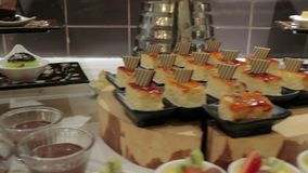 Dessert buffet table stock video footage