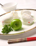 Dessert cake. Small animal model for white Red traditional Chinese chopsticks royalty free stock image