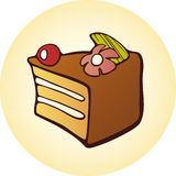 Dessert cake button. Illustration of chocolate dessert cake on button, white background Royalty Free Stock Images