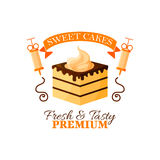 Dessert cake or chocolate cupcake vector icon Royalty Free Stock Images