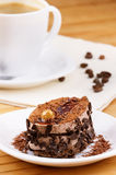Dessert cake and coffee. On the table Royalty Free Stock Images