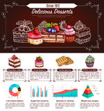 Dessert, cake and cupcake infographics design Royalty Free Stock Photos