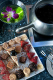 Dessert cake fondue platter Royalty Free Stock Photo