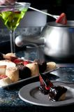 Dessert cake fondue platter Royalty Free Stock Photography