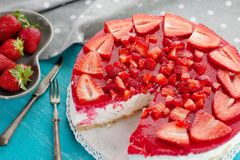 Dessert cake made with strawberry delicious red fruit Stock Photo