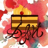 Dessert cake slice blot. A square vector with a dessert lettering and a cake slice  image. A flyer for a bakery. A grungy watercolor blot background Stock Photo
