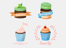 Dessert cake and sweetie cupcakes with ribbons. Dessert cake and sweetie cupcakes, pastry with mint leaf on top and ribbons saying delicious and bon apetit, love Stock Image