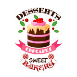 Dessert cake or tart vector icon or emblem Stock Photos