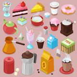 Dessert cake vector drink coffee or tea with baked cupcake and sweet doughnut in cafe illustration set of coffeecups and. Caked biscuits from menu in coffeeshop vector illustration