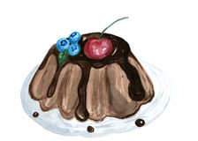 Dessert cake watercolor illustration, yummy pie Royalty Free Stock Images