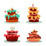 Dessert cakes with cream and chocolate, candle Stock Images