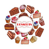 Dessert cakes and cupcakes vector poster Royalty Free Stock Image