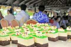Dessert cakes served in a party in Rarotonga Cook Islands. Food background and texture Royalty Free Stock Images