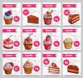 Dessert cakes vector price cards set Stock Images