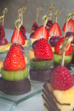 Dessert canape from fruits on the table Royalty Free Stock Photos