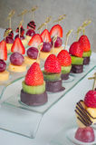 Dessert canape from fruits on the table Royalty Free Stock Image