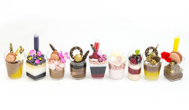 Dessert Canapes. With cream chocolate berries, on a white background Stock Images