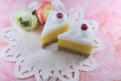 Dessert candles. Cheese cake candles with berries on top Stock Photos