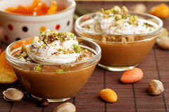 Dessert with caramel Stock Images