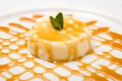Dessert with caramel sauce Stock Photos