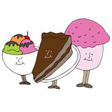 Dessert Cartoon Characters Royalty Free Stock Photography