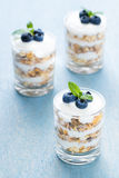 Dessert with Cereals and Yoghurt. Three glass of dessert with yoghurt, cereals and blueberry royalty free stock image