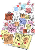 Dessert che cucina doodle impreciso del libro Immagini Stock Libere da Diritti
