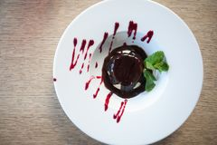 Dessert with cheese cream and jam stock photo