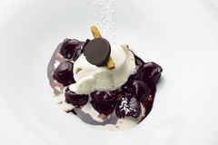 Dessert Cherries in Red Wine and Chocolate with Cinnamon ice Cre. Am in white plate Stock Image