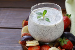 Dessert chia seed pudding with berries and fruits - healthy eating Royalty Free Stock Photos