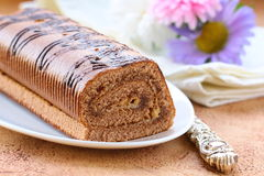 Dessert chocolate biscuit roll Stock Image