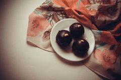 Dessert of chocolate candies Royalty Free Stock Image