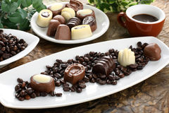 Dessert with chocolate and coffee Royalty Free Stock Photos