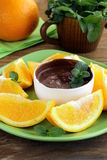 Dessert of chocolate mousse (melted chocolate) Royalty Free Stock Photography